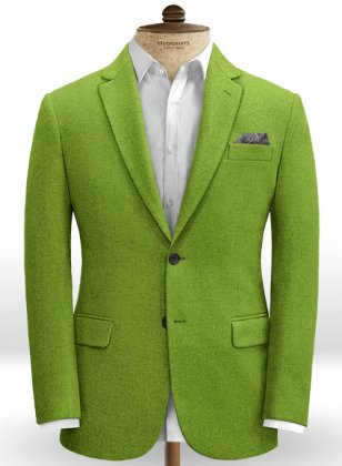 Melange Parrot Green Tweed Jacket