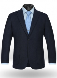 Deep Blue Herringbone Tweed Parker Style Sports Coat