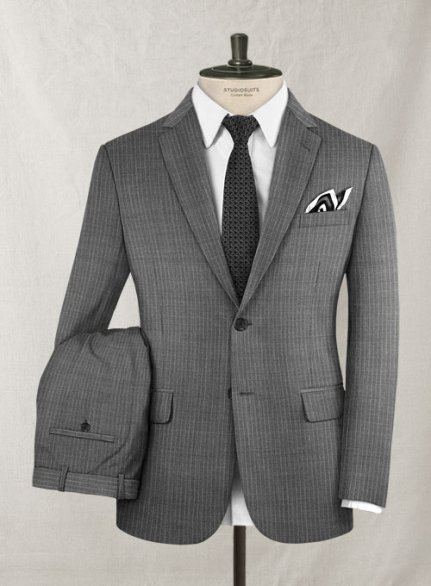Scabal Lio Gray Stripe Wool Suit