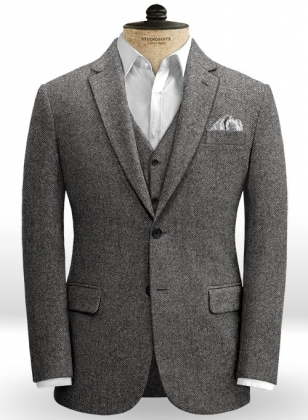 Gray Herringbone Flecks Donegal Tweed Jacket