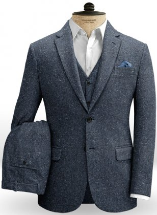 Royal Blue Flecks Donegal Tweed Suit