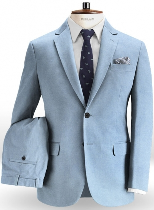 Stretch Summer Weight River Blue Chino Suit