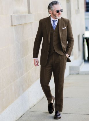 Pure Rich Brown Linen Suit