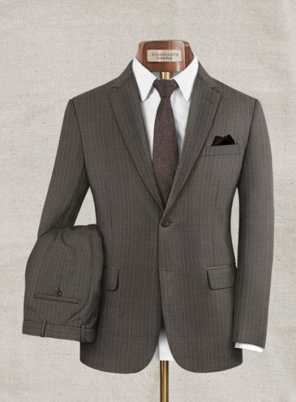 Zegna Variel Brown Stripe Wool Suit
