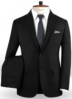 Napolean Black Weave Wool Suit