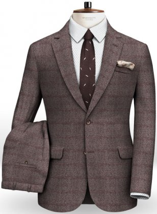 Milan Wine Feather Tweed Suit