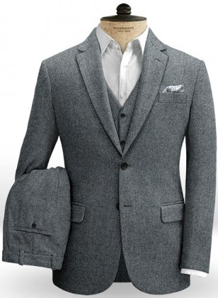 Mid Blue Herringbone Flecks Donegal Tweed Suit