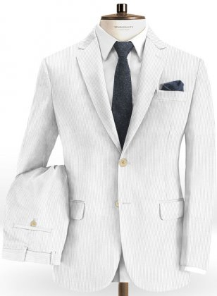 White Thick Corduroy Suit