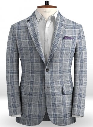 Solbiati Gray Checks Linen Jacket