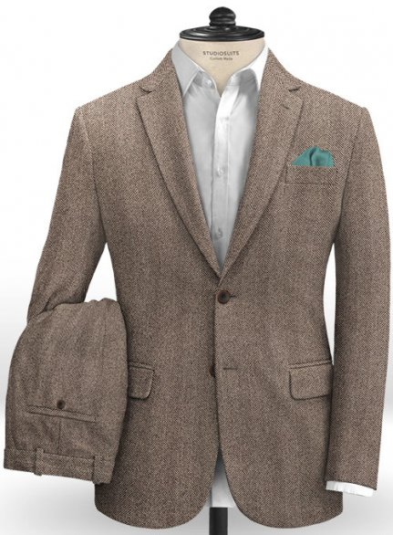 Italian Wide Herringbone Brown Tweed Suit