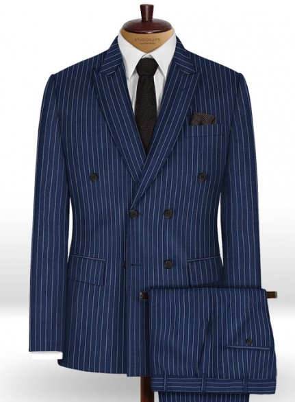 Napolean Stripo Navy Blue Wool Suit