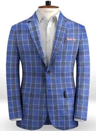 Solbiati Blue Checks Linen Jacket