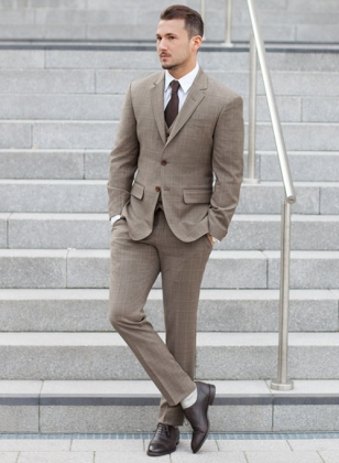 Napolean Beige Checks Wool Suit