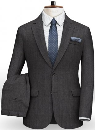Caviar Weave Dark Gray Wool Suit