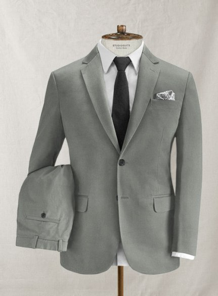 Italian Brushed Cotton Light Gray Suit