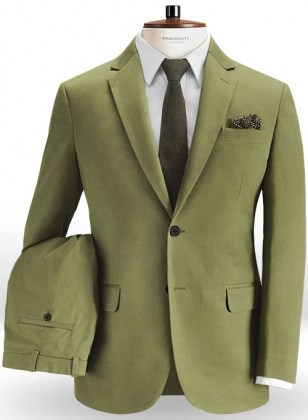 Green Feather Cotton Canvas Stretch Suit