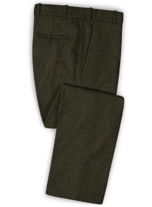 Vintage Flat Green Herringbone Tweed Pants