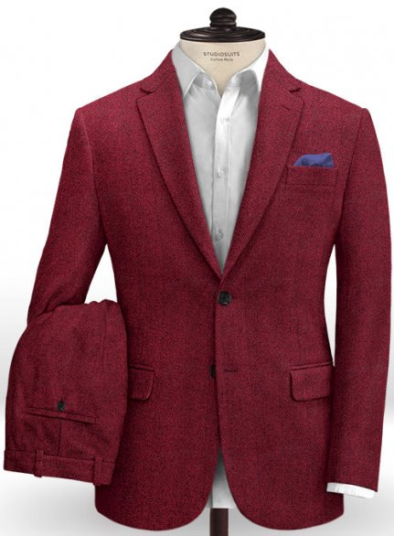 Italian Wide Herringbone Wine Tweed Suit