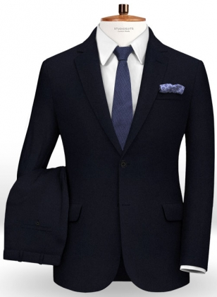 Dark Navy Flannel Wool Suit