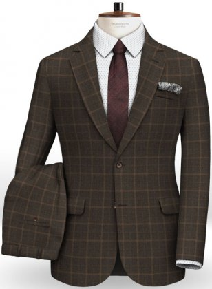 Pisa Brown Feather Tweed Suit