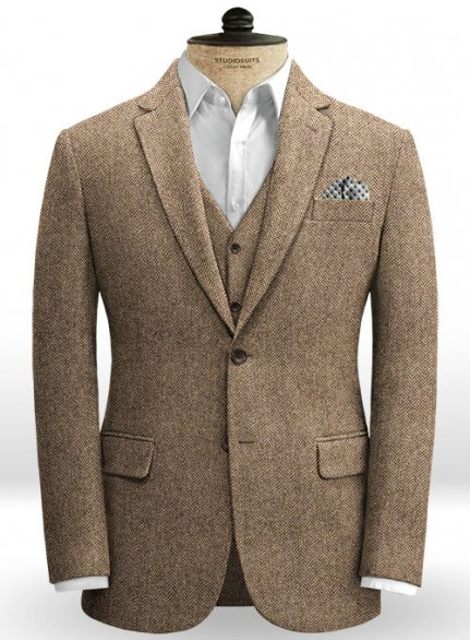 Irish Brown Herringbone Tweed Jacket