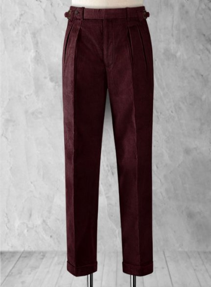 Wine Colonel Corduroy Trousers