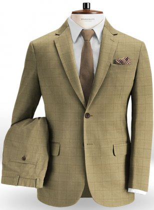 Glen Stretch Cotton Beige Suit