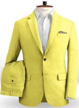 Safari Yellow Cotton Linen Suit