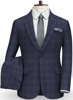 Navy Mont Checks Flannel Wool Suit