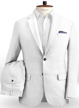 Safari White Cotton Linen Suit