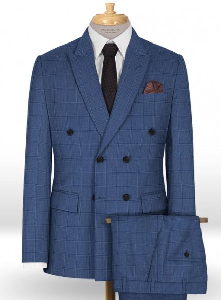 Napolean Pane Blue Wool Suit