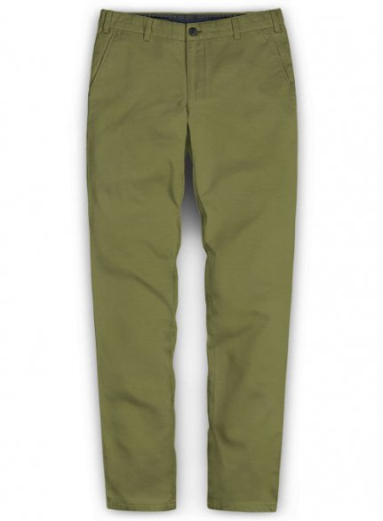 Washed Green Feather Cotton Canvas Stretch Chino Pants
