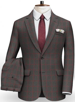 Charcoal Red Windowpane Flannel Wool Suit
