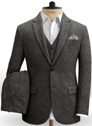 Harris Tweed Dark Gray Herringbone Suit