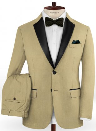Napolean Light Khaki Wool Tuxedo Suit
