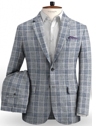 Solbiati Gray Checks Linen Suit