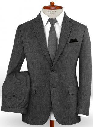 Stretch Charcoal Wool Suit
