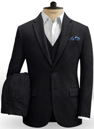 Blue Black Heavy Tweed Suit