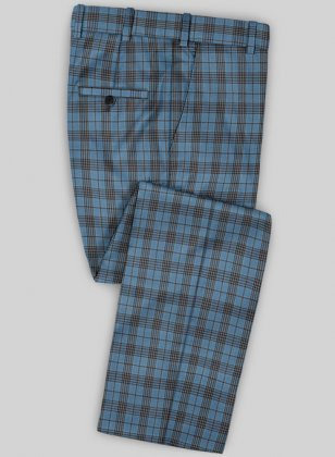 Scabal Mosaic Janero Blue Wool Pants
