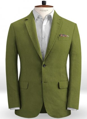 Safari Nut Green Cotton Linen Jacket