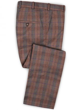 Turin Wine Feather Tweed Pants