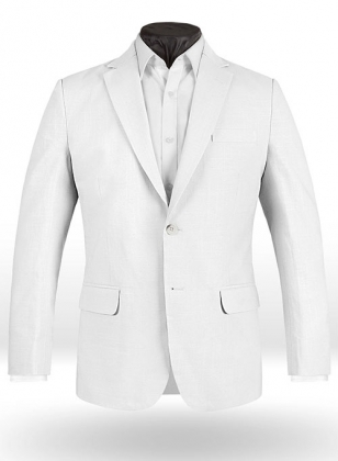 Tropical White Linen Jacket - 40R