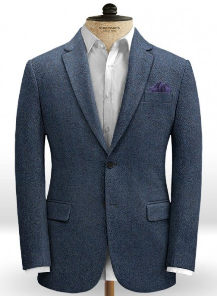 Showman Blue Herringbone Tweed Jacket
