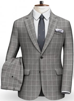 Gray Windowpane Flannel Wool Suit