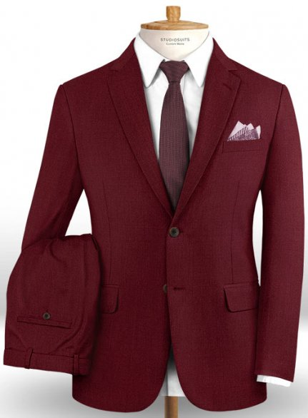 Scabal Maroon Wool Suit