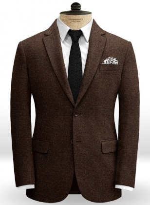 Heavy Brown Herringbone Tweed Jacket