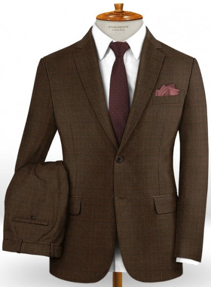 Caccioppoli Dapper Dandy Sortez Dark Brown Wool Suit