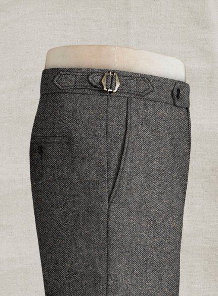 Gray Herringbone Flecks Donegal Highland Tweed Trousers