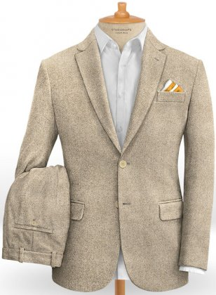 Vintage Herringbone Light Beige Tweed Suit