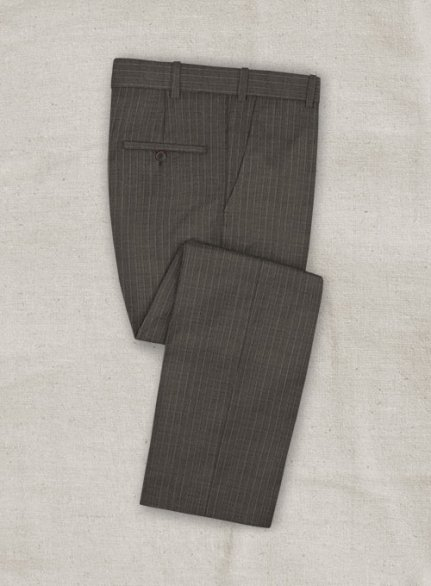 Zegna Variel Brown Stripe Wool Pants
